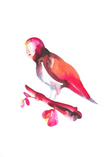 Je deviens un oiseau  ,2016,watercolor on paper,30x40cm, private collection