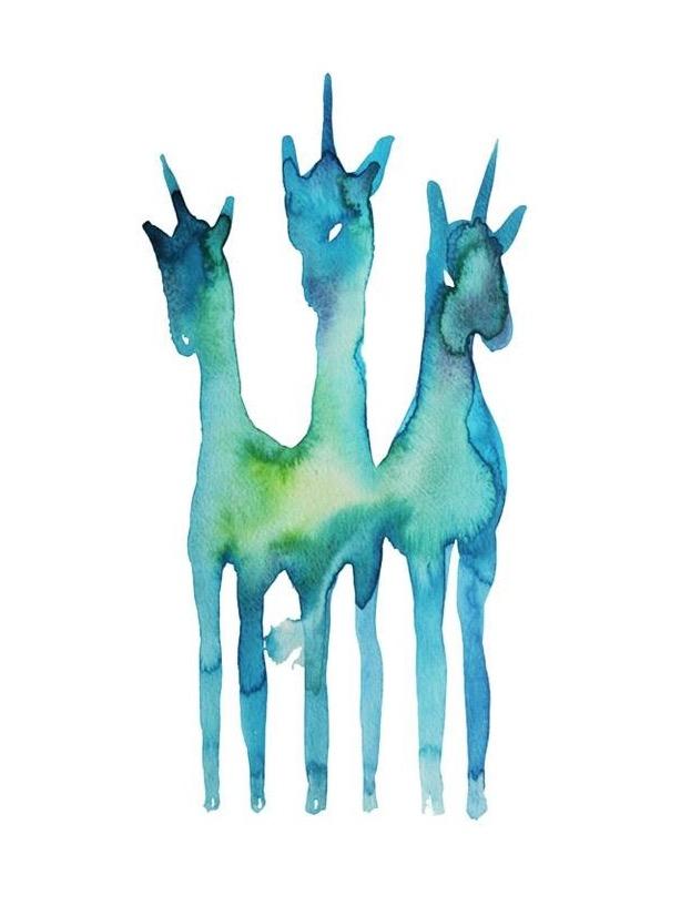 Licornes  , 2013, watercolor on paper, 29,7x43cm, private collection