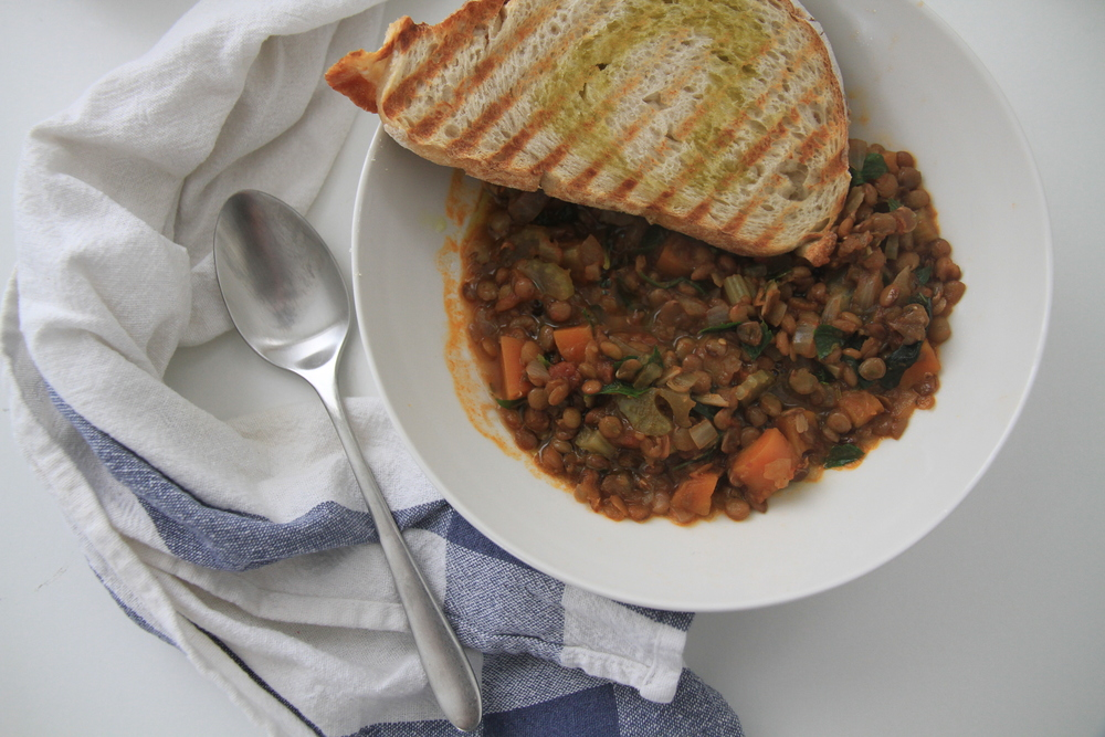 My go to 'slow meal' one pot veggie lentils