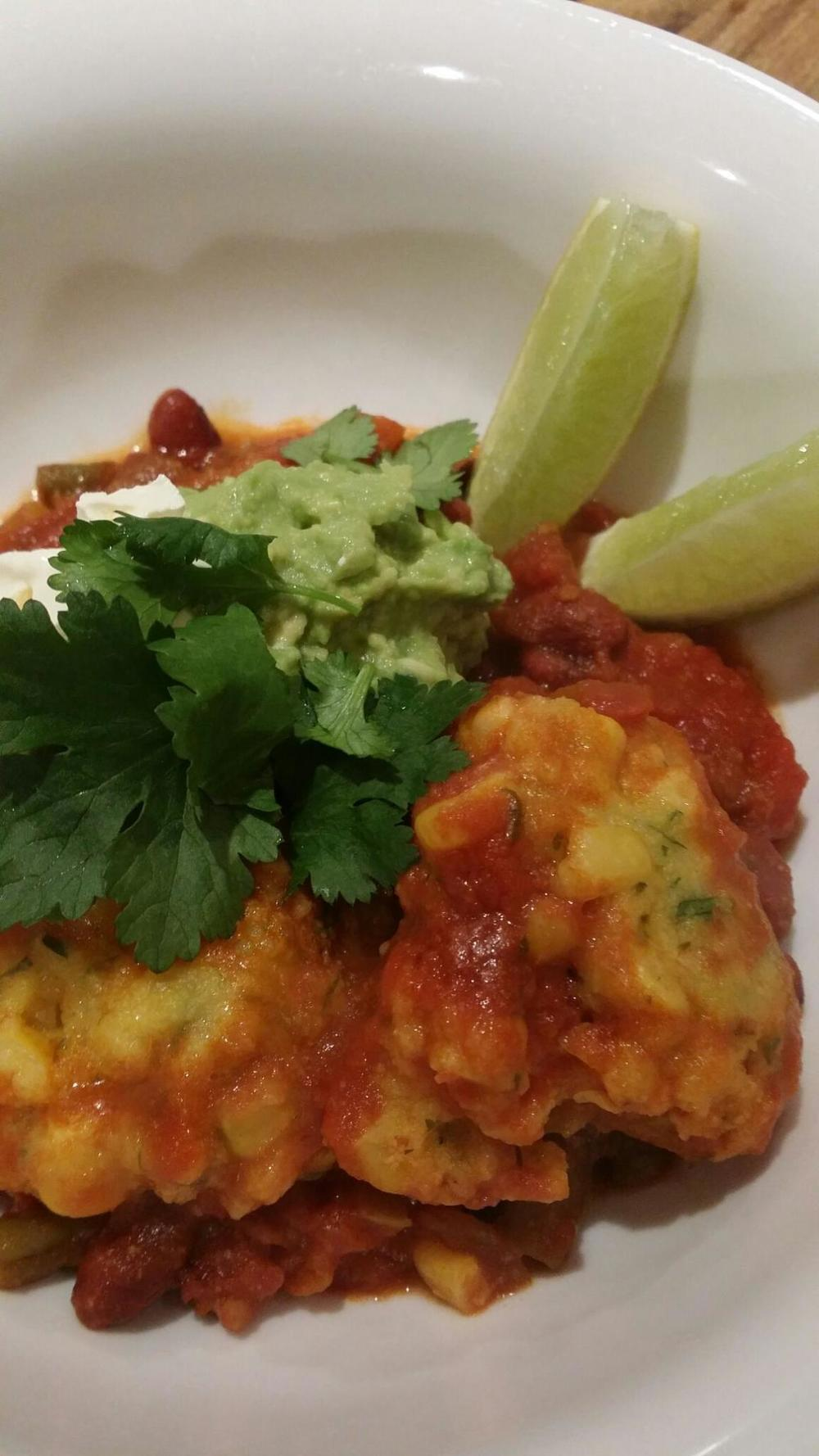 Mary's vegetarian chilli con carne with polenta dumplings!