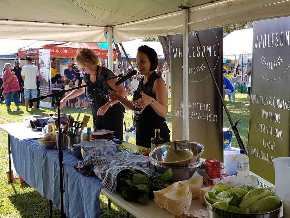 Mary and Kerryn presenting at The Glen Family Funday - over 100 taste testers were given out this day!