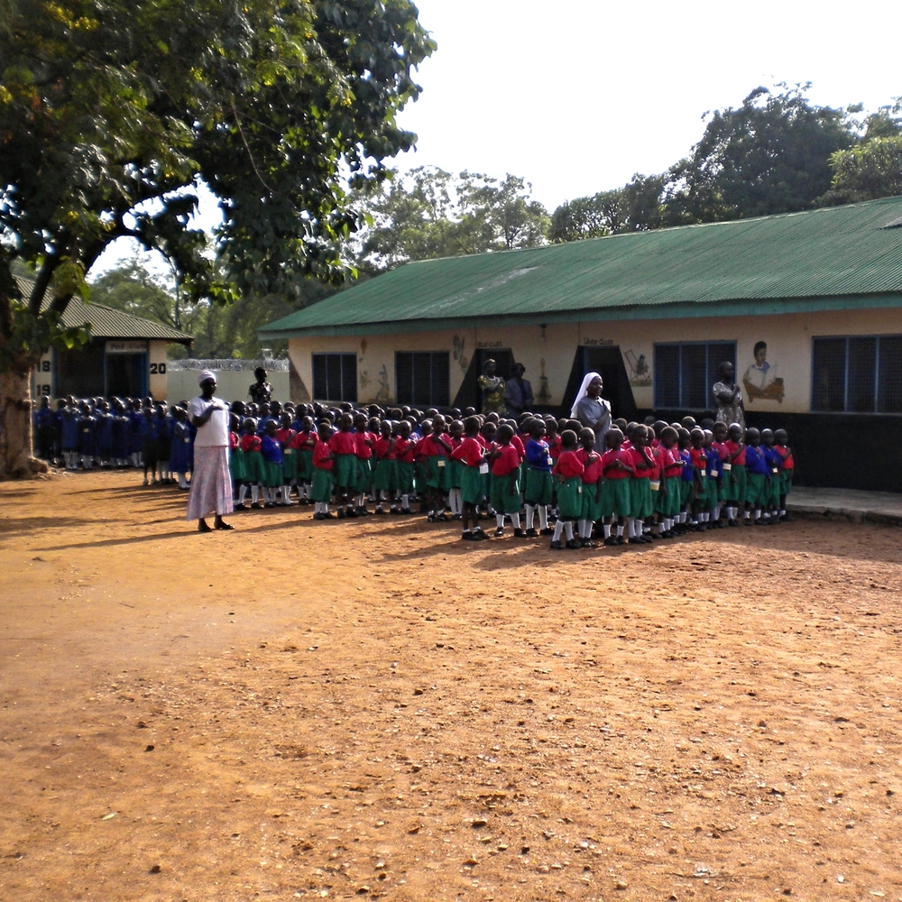 Sacred Heart Sisters Nursery school at their Generalate; we've just finished a poultry house to provide for these children's meals; its success encourages us to finish their primary school