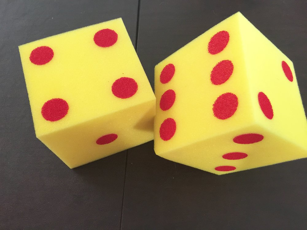 Large styrofoam dice from Amazon.