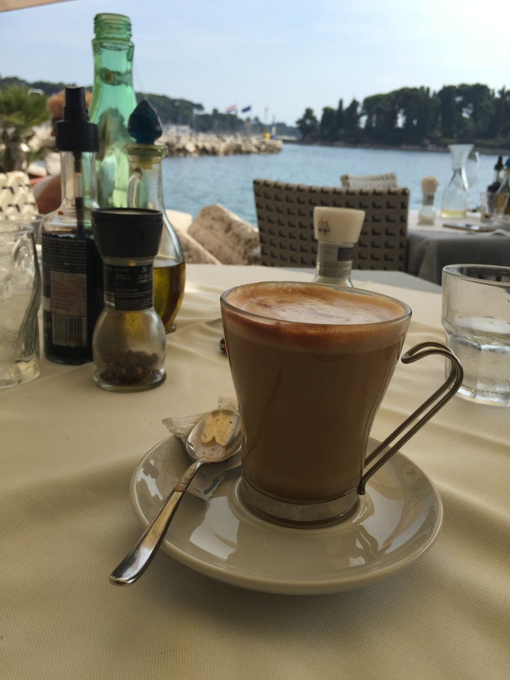 Enjoying a White Coffee by the Croatian seaside! Traveling Newbies