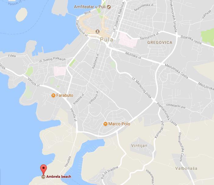 Pula Map of the Arena and Ambrela Beach.JPG
