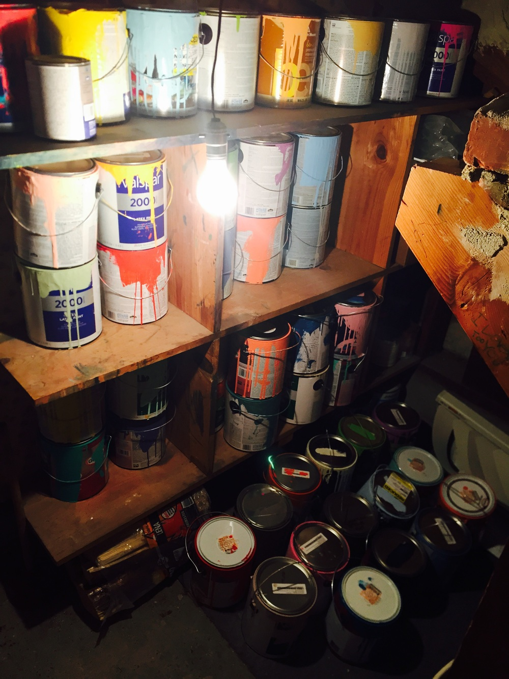 Behind the stripe scene at Irving Street Projects // Fifty cans of paint