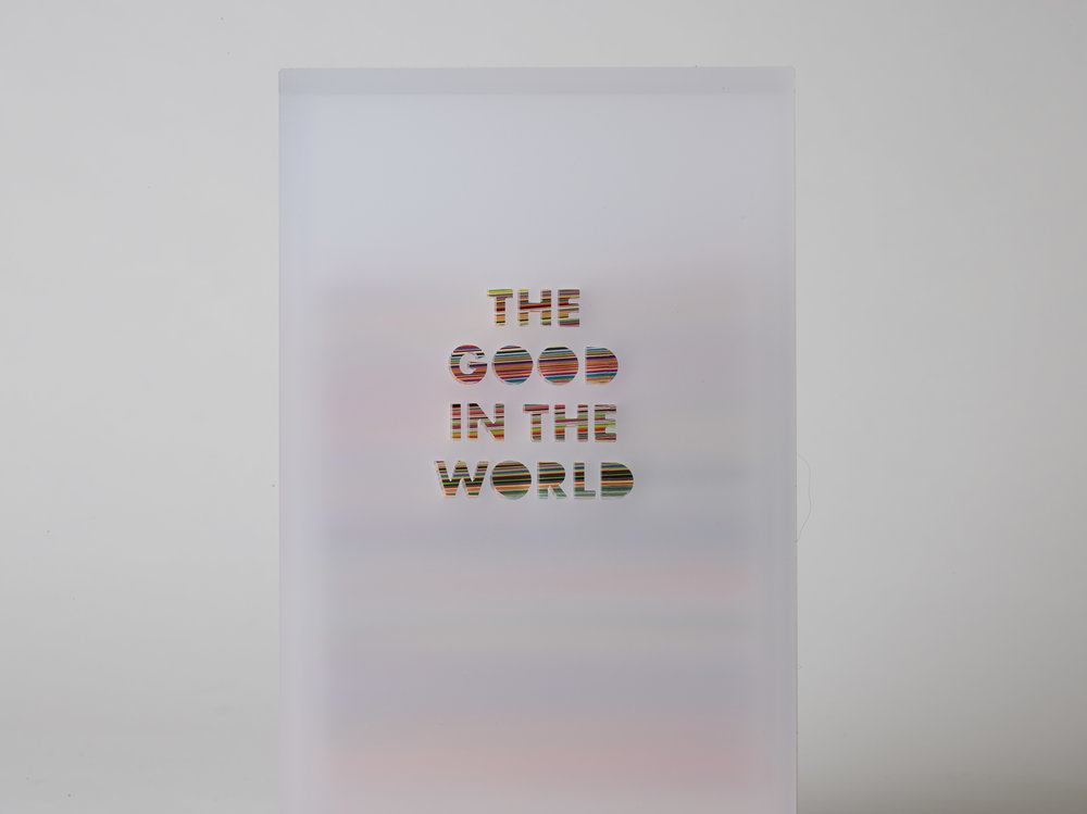 "Leah Rosenberg, The Good in the World: a color for every day. RITE Edition, San Francisco, 2017. 3-D color diary. Colored paper, wood and plexiglass. Edition of 20. 7 × 1.9 × 4.6"". 365 pages."