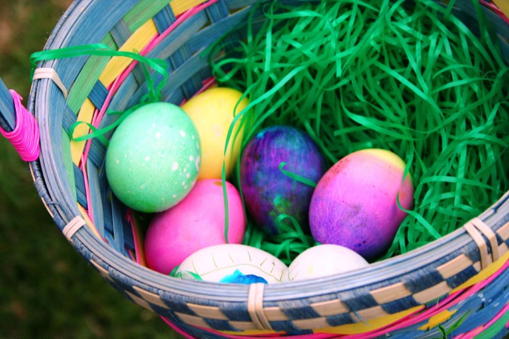 Easter Egg Hunt, coloured eggs in a basket