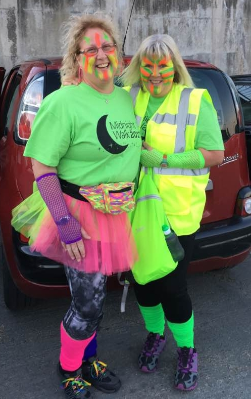Above: Lynn McIntyre (pictured right) ready for the midnight walk!