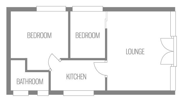 Example floor plan of Bermuda Chalet