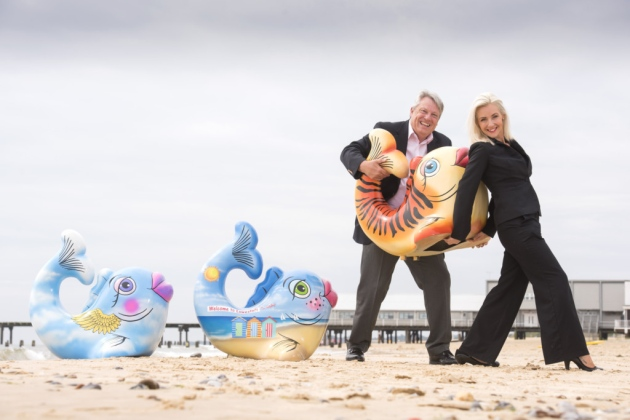 Image: Ann Marie Doggett and Danny Steel from Lowestoft Vision, organisers of the fishy trail in Lowestoft, Suffolk. (image credit Nick Butcher)
