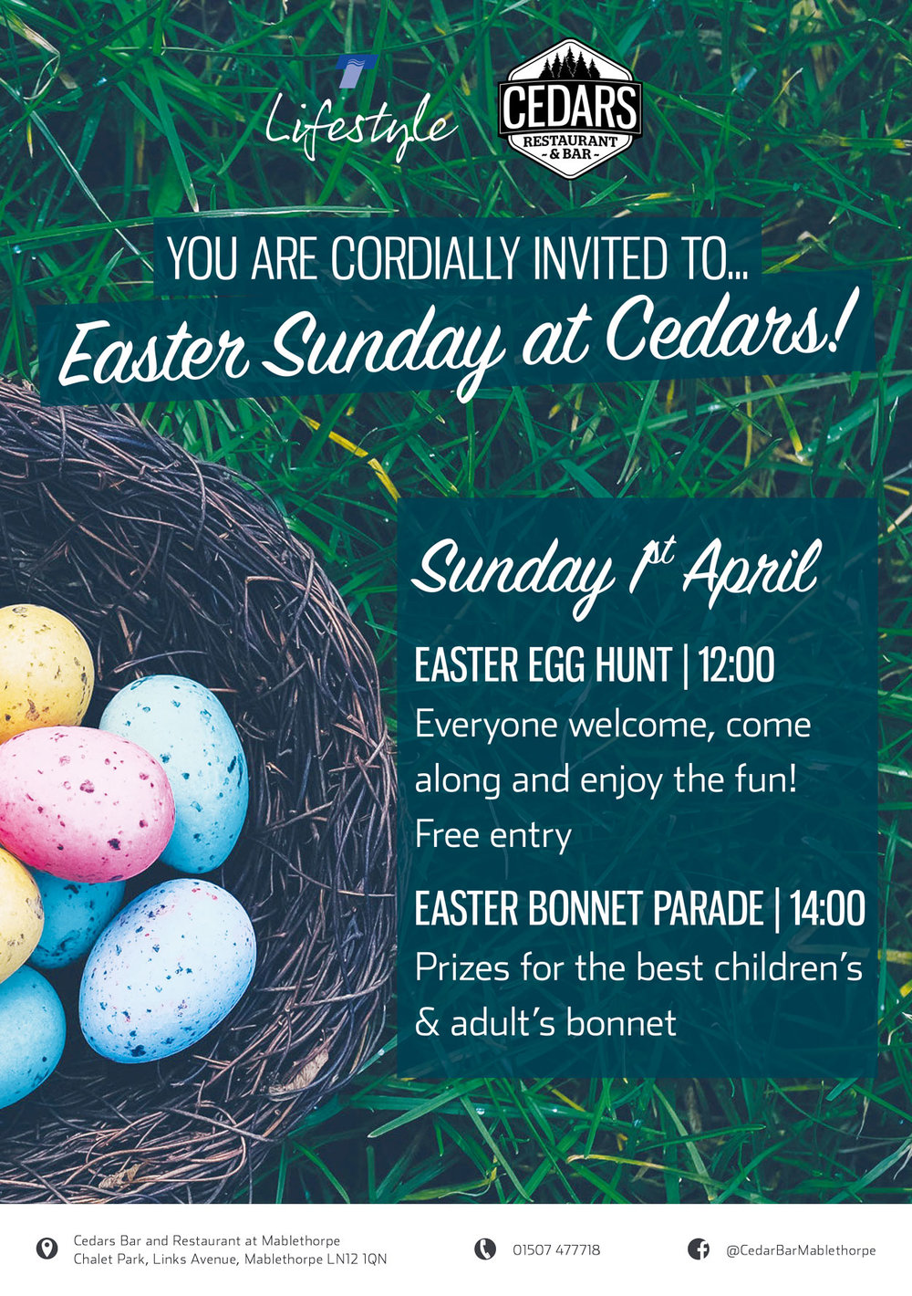 Easter Sunday at Cedars Bar & Restaurant, Mablethorpe Chalet Park - click to enlarge!