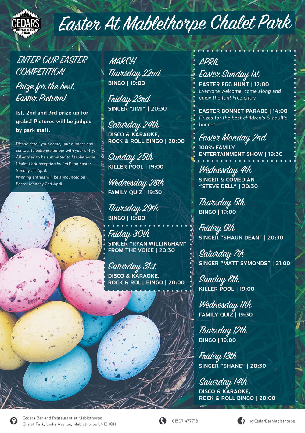 Easter events at Cedars Bar & Restaurant, Mablethorpe Chalet Park - click to enlarge!