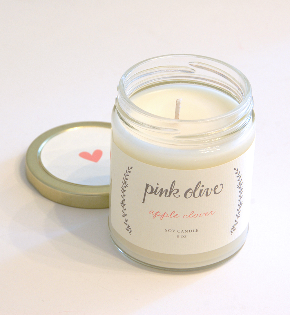 pink olive soy candle packaging design