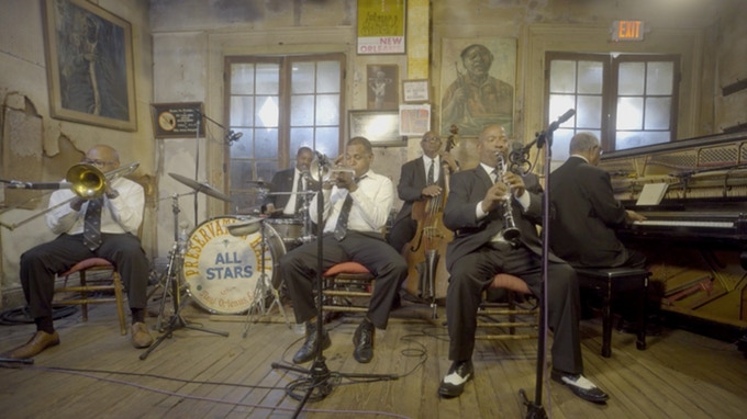 """The Preservation Hall Legacy Band performing Louis Armstrong's """"Melancholy Blues"""" in New Orleans at Preservation Hall, May 2017"""