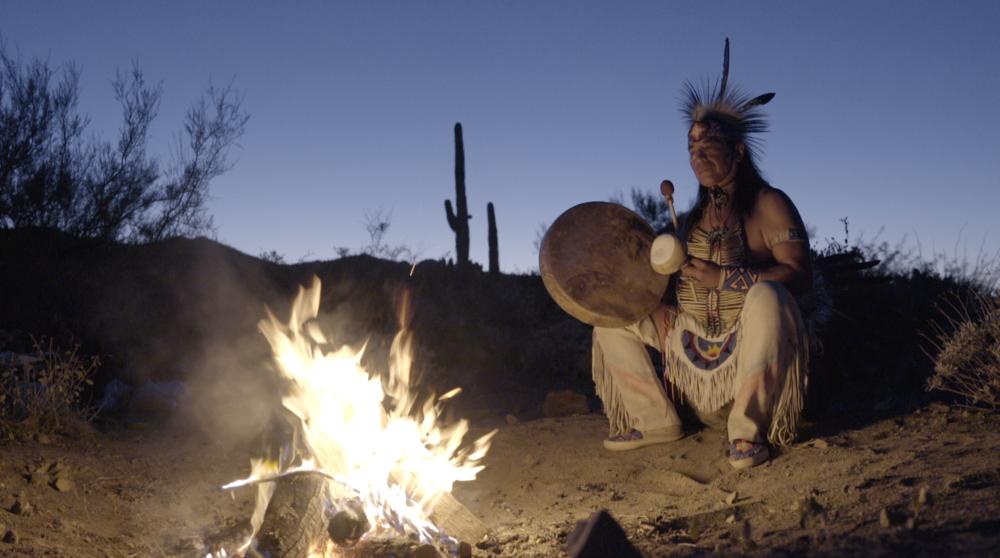 Tony Redhouse performing his variation of the Navajo Night Chant. Arizona 2017.