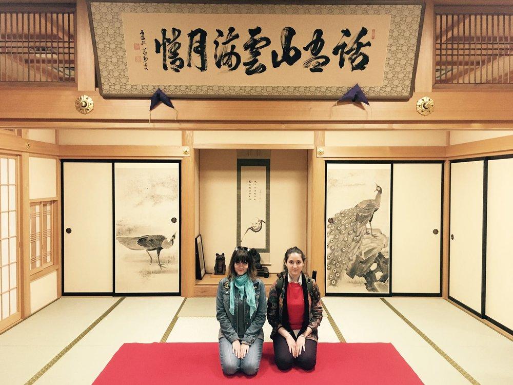 "After our last shoot day. Hosshinji Buddhist temple in Shinjuku, Tokyo, where we filmed a dramatic and emotional performance of the shakuhachi piece ""Tsuro No Sugomori"" with Mizuno Kohmei, former student of Yamaguchi Goro."