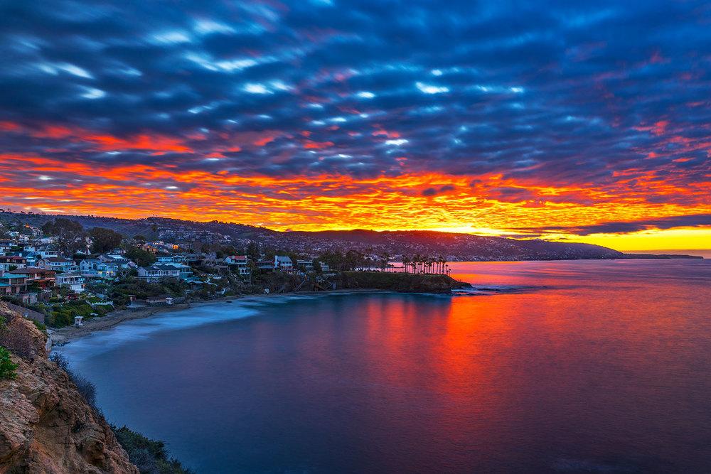 A beautiful winter sunrise above Crescent bay in North Laguna beach, California.