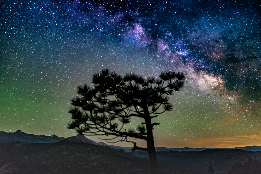 The Milky Way shot high atop Glacier point in Yosemite national park, California. Shot wide open @ 2.0 for 15 seconds using the 500 rule to keep the stars nice and tight.