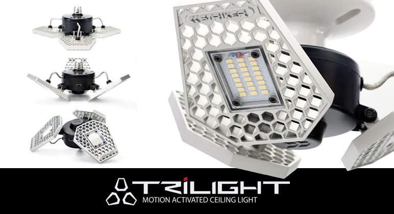 Trilight (Motion-Activated Ceiling Light by Striker)  - $ 129.99 www.Striker1.com (704) 658-9332