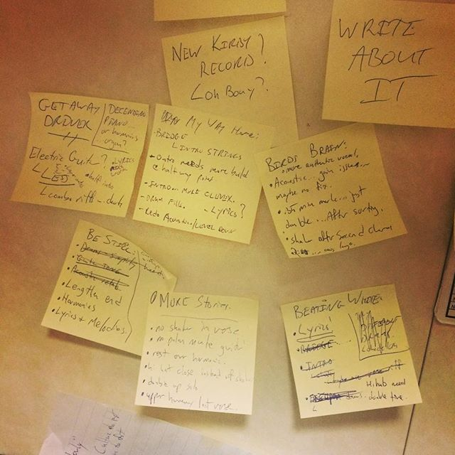 When writing a new record...ensure you have lots of post it's to reflect the inner chaos that is your mind.  #WriteAboutIt