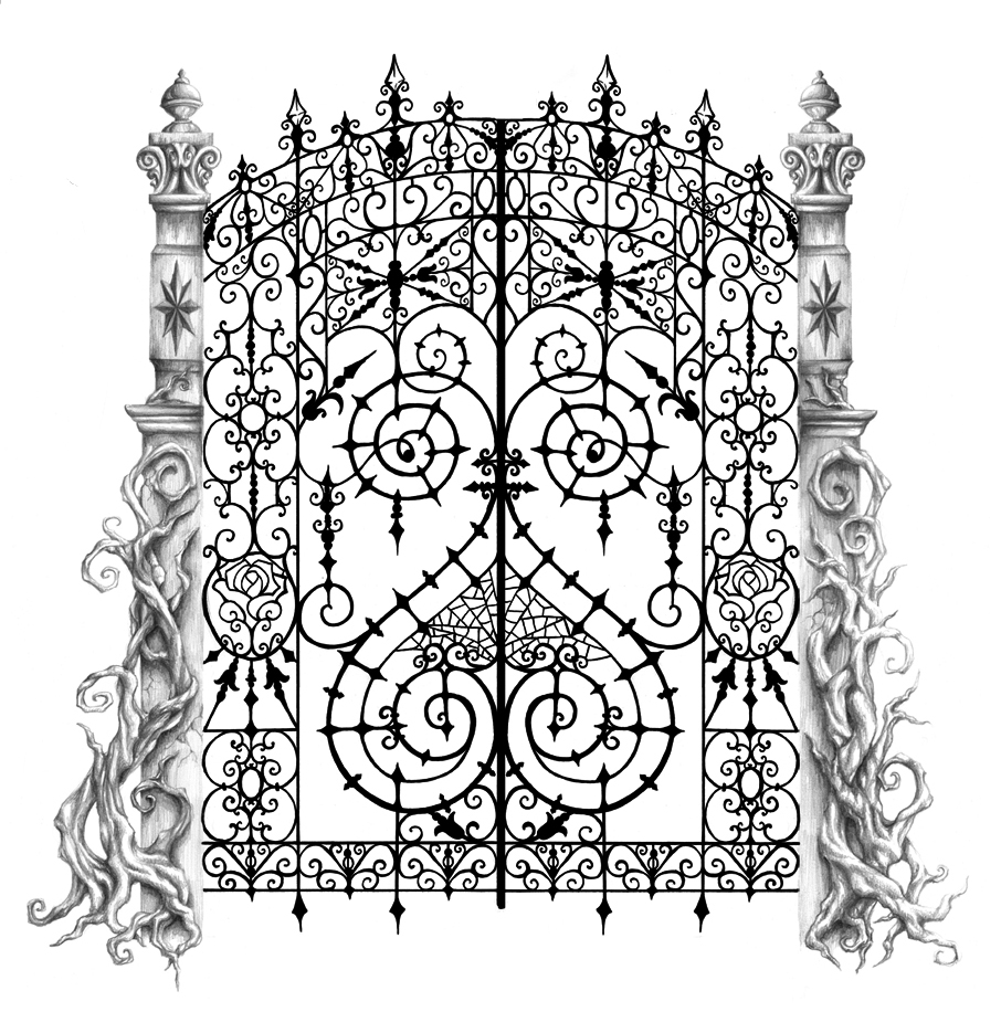 Cemetery gate backpiece