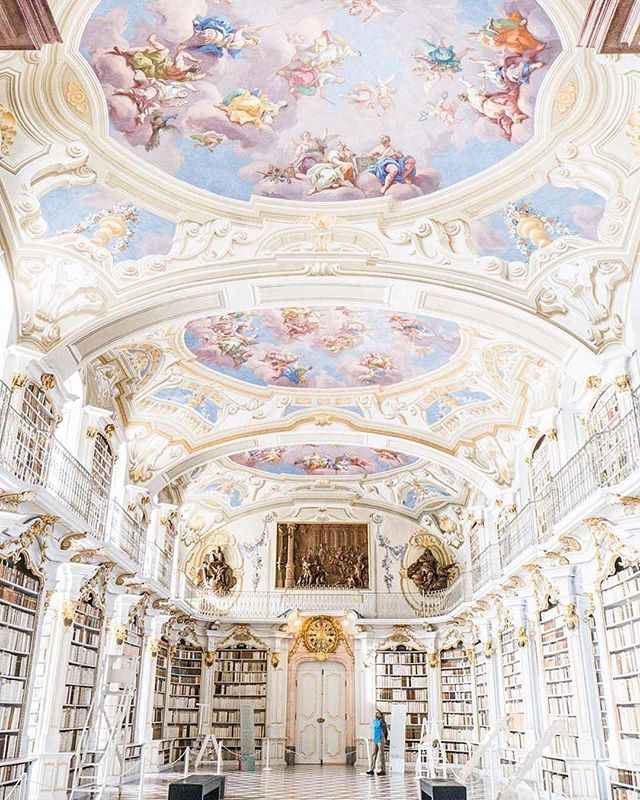 This library though 😍😍😍 @Regranned from @cntraveler -  Rivers and mountains surround Admont Abbey, but we'd rather spend all day inside its library 📚 📸 @teresa.goes.places . . . #books #library #travel