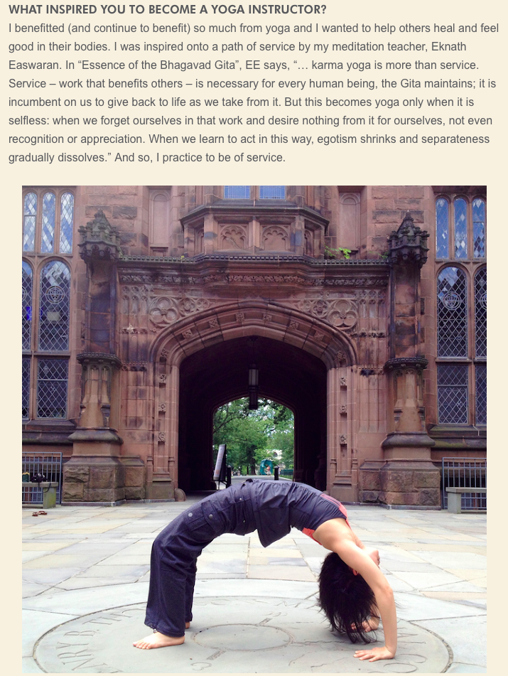 Urdhva dhanurasana at Princeton University.