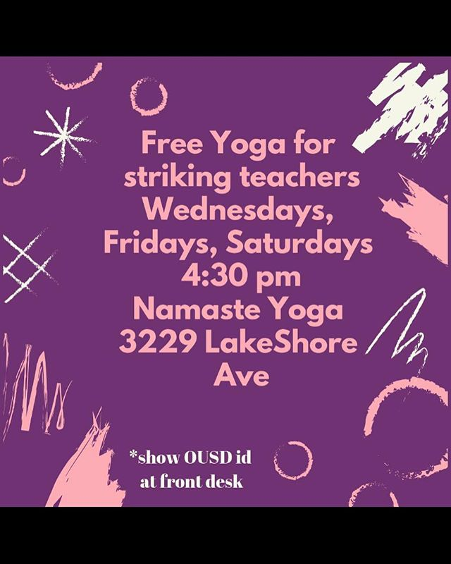 OUSD teachers - are you on strike? There is free yoga support for you. Thank you @satyadelapazaugust and @squareoneyoga  #ousd #oaklandteachers #oaklandteacherstrike #supportoaklandteachers #ousdstrike #oaklandyoga #freeyoga #teacherstrike #supportouryouth #supportourteachers