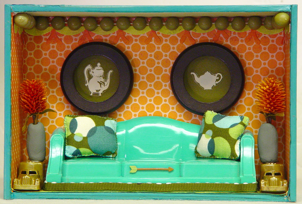Turquoise couch room box by Betsy Couzins for wonderland5