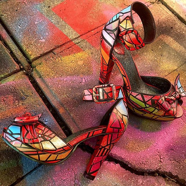 #wip #fresh #graphism #fashion #new #shoes #shoeporn #pinup #heels #abstract #colorful #shape #line #curves #beauty #custom #kicks #femme #detail #stainedglass #art #arte #artwork #fineart #shoegame #nextlevel #future #work #flow #norm4eva