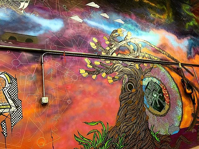 .last thing is the logo🎸 #wip #spraypaint #mural #painting #drawing #sketch #art #streetart #graffiti #arte #abstract #colorful #guitar #tree #clouds #sky #cloudporn #totemstringedinstruments #freehand #work #flow #sacred #space #style #future #creative #norm4eva