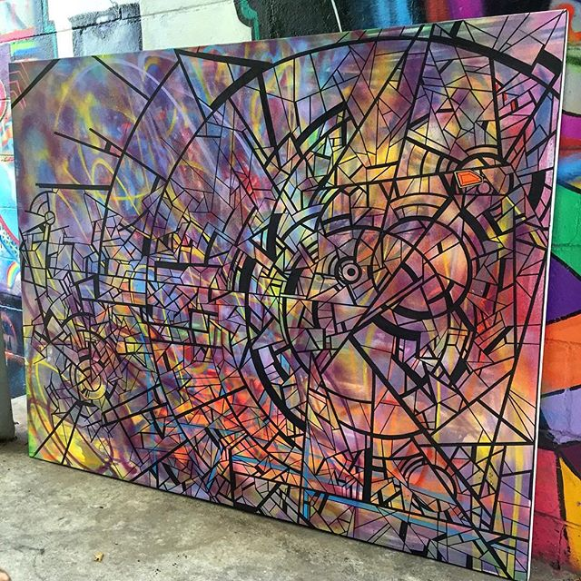 """#new #wip 48"""" x 60"""" #colorful #canvas #abstract #portal #art #spraypaint #ink #contemporaryart #line #shape #curves #drawing #sketch #freehand #molotow #paint #marker #magic #circle #arte #streetart #graphism #graffiti #style #future #space #details #norm4eva"""