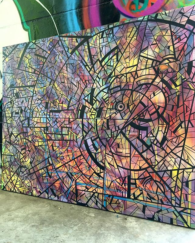 """#wip 60"""" x 48"""" #fresh #new #future #artwork #spraypaint #painting #drawing #art #streetart #graffiti #graphism #style #arte #trippy #sacred #magic #portal #psychedelic  #drawing #line #shape #curves #circle #work #flow #colorful #abstract #contemporaryart #canvas #norm4eva"""