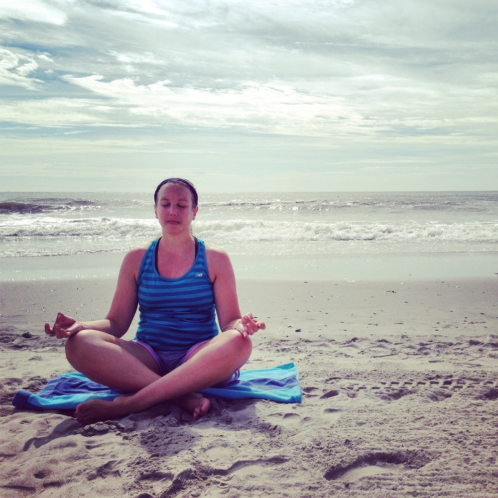 Meditating on the Jersey Shore last Summer. It was easy to find my five minutes to meditate while my BFF was off running 8 miles :)