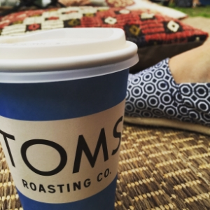 Wearing Toms while drinking Toms coffee at Wanderlust in Stratton, VT.  Mind blown!