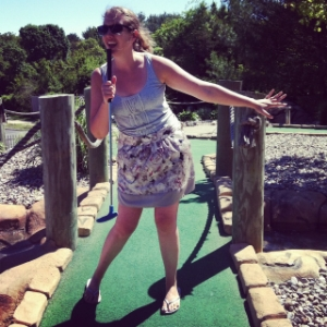 This is me having Fun at mini golf with so much CONFIDENCE!  I'll turn anything into a microphone!  Time to tune in to this Wild Child much more frequently!  :)