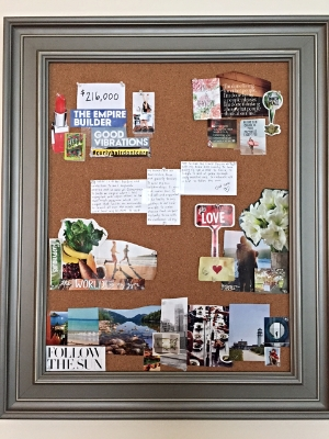 My latest vision board. Look how clean and simple it is! I LOVE it! Really shows the key areas of focus for me: career, spirituality, healthy, relationships, and travel. Right now it sits above my keyboard in my living room. But I'll adding it to my phone, laptop, and car soon!