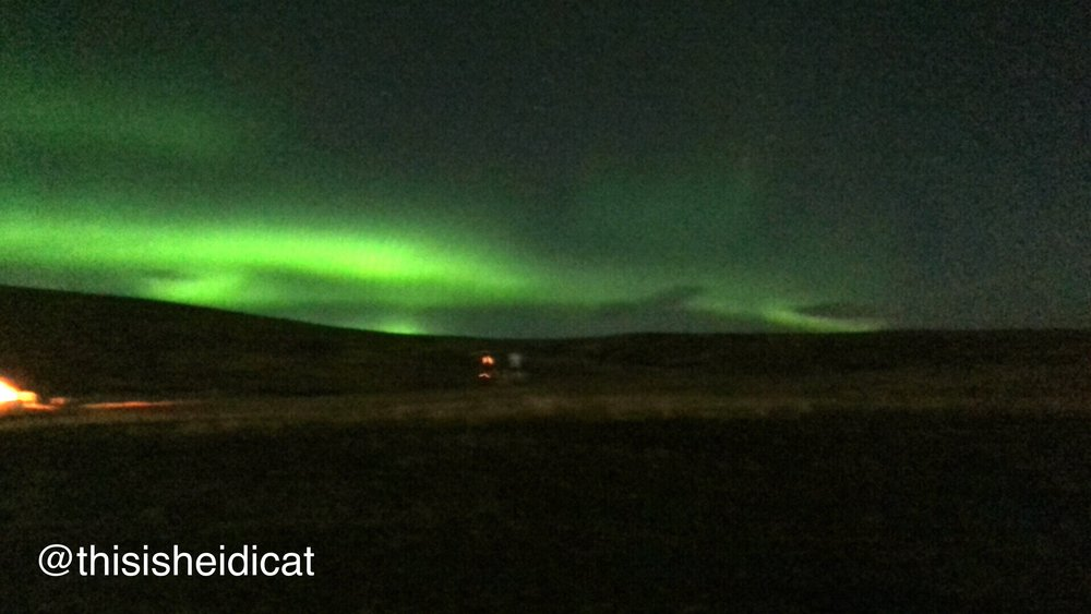 """This photo was taken with the iPhone app """"Northern Lights"""" so you can see the comparison between what your phone can do versus what a DLSR can do. You can see the colors are incredibly intense but the photo itself is also very grainy."""