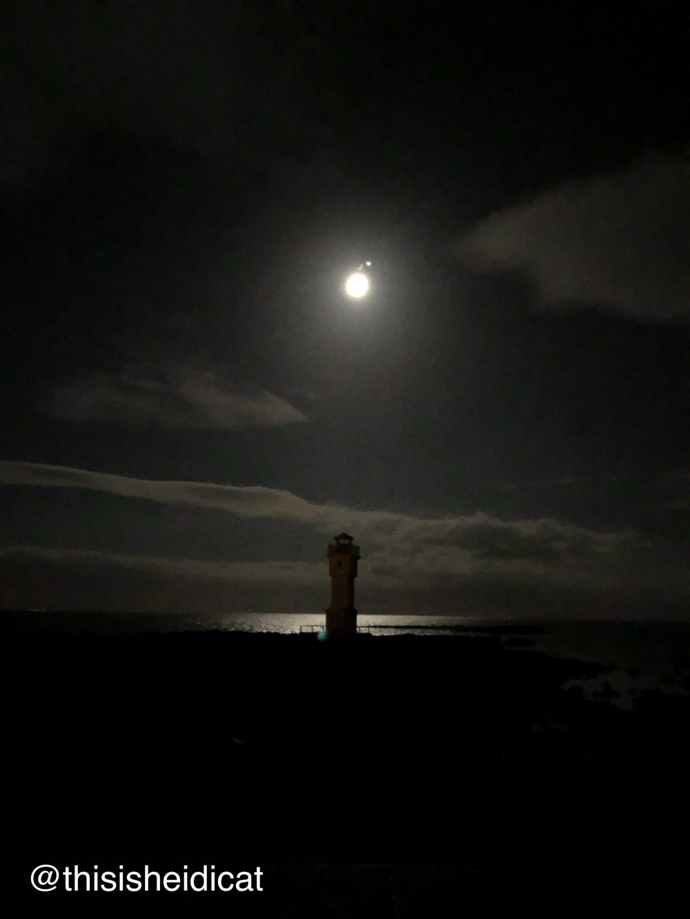 No Northern Lights here, but this is the stop with the Lighthouses and the full moon. Most people stayed on the bus for this last stop but I was out there capturing what I could while listening to the waves crash upon the rocks.
