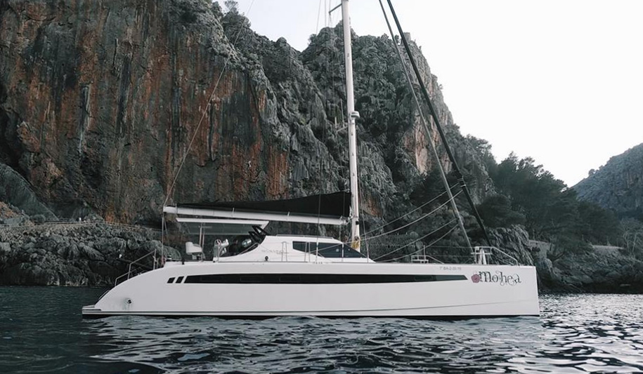 Mohea making her way from Valencia Spain to the La Grande Motte International Multihull Boat Show
