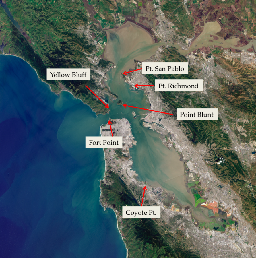 Figure 1. Aerial image of San Francisco Bay region showing flow and sediment transport patterns around selected headlands. The headlands vary in size and shape from Yellow Bluff (flat, small) to Fort Point and Pt. San Pablo (sharp, large). Satellite photograph in natural color from NASA Operational Land Imager (OLI) on Landsat 8 on April 16, 2013 (http://earthobservatory.nasa.gov/IOTD/view.php?id=81238).