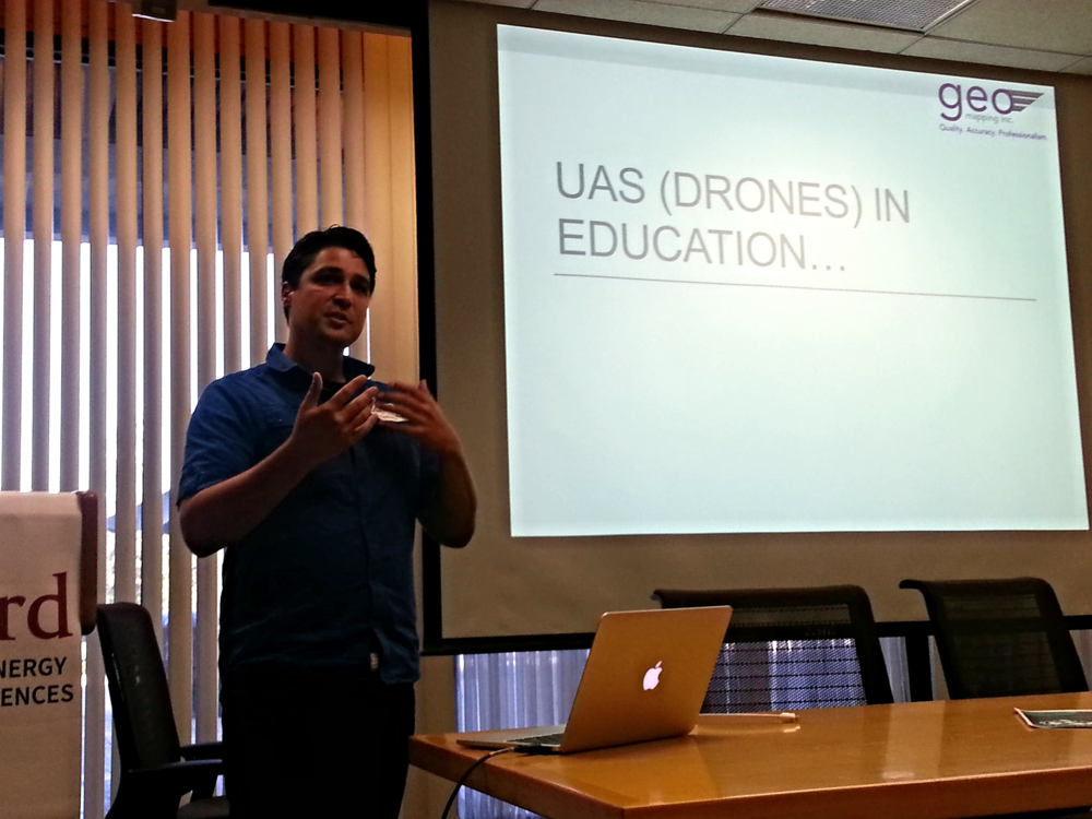 Jeffrey Miller of GeoWing Mapping discusses how drone technology can be introduced into curriculums at the BayGeo Educator GeoSummit in October of 2015.