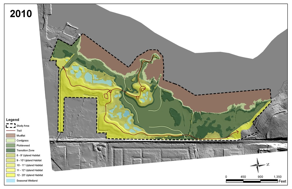 Figure 3. The GIS map indicates marsh habitat ranges after restoration is complete using 2010 existing sea levels.