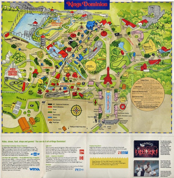 Figure 1.  King's Dominion amusement park in Virginia circa 1992 where I worked in a magic show one summer Photo credit:  http://www.themeparkbrochures.net/maps/kings-dominion-2/