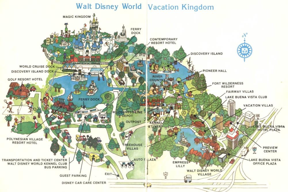 Figure 2.  River Country and Discovery Island are abandoned parks within Disneyland, shown on this map from 1979 Photo credit:  http://www.themeparkbrochures.net/maps/walt-disney-world-vacation-kingdom/