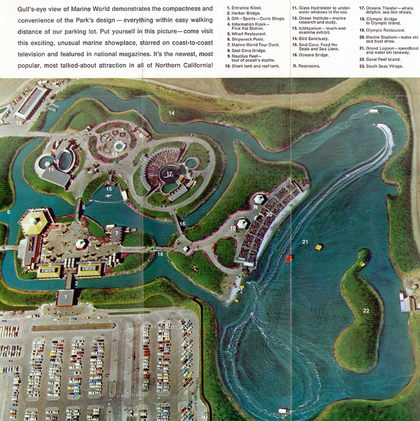 Figure 3. Marine World amusement park opened in Redwood City, CA in 1968 on the site that is now occupied by Oracle's world headquarters Photo credit:  http://www.themeparkbrochures.net/maps/marine-world