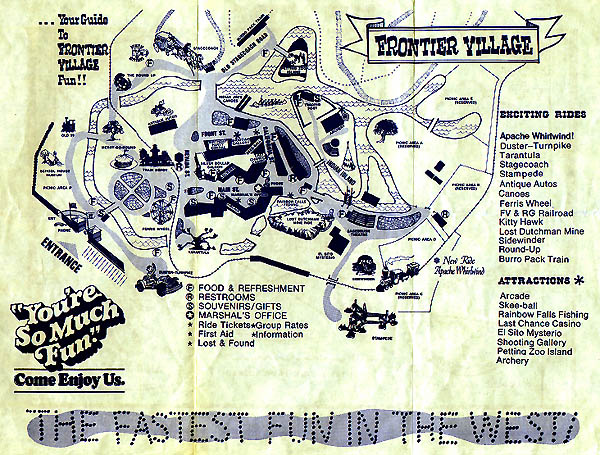 Figure 4.  Frontier Village was an amusement park in San Jose that closed in 1980 Photo credit:  http://www.frontiervillage.net/pages/map1977.html