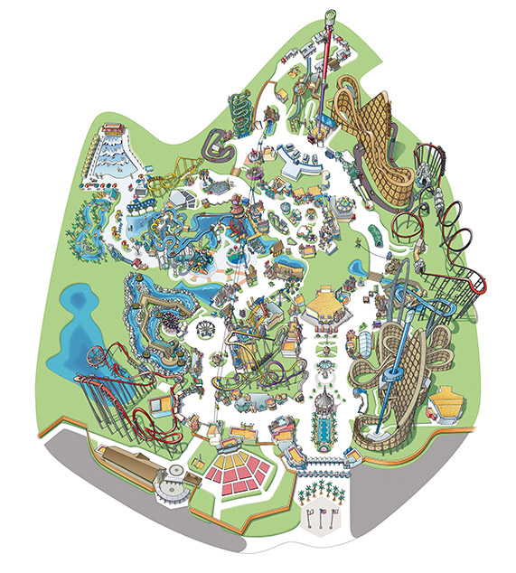 Figure 7.  California's Great America 2016 park map looks strikingly similar to the 1958 Disneyland map   Photo credit:  https://www.cagreatamerica.com/plan-a-visit/park-map