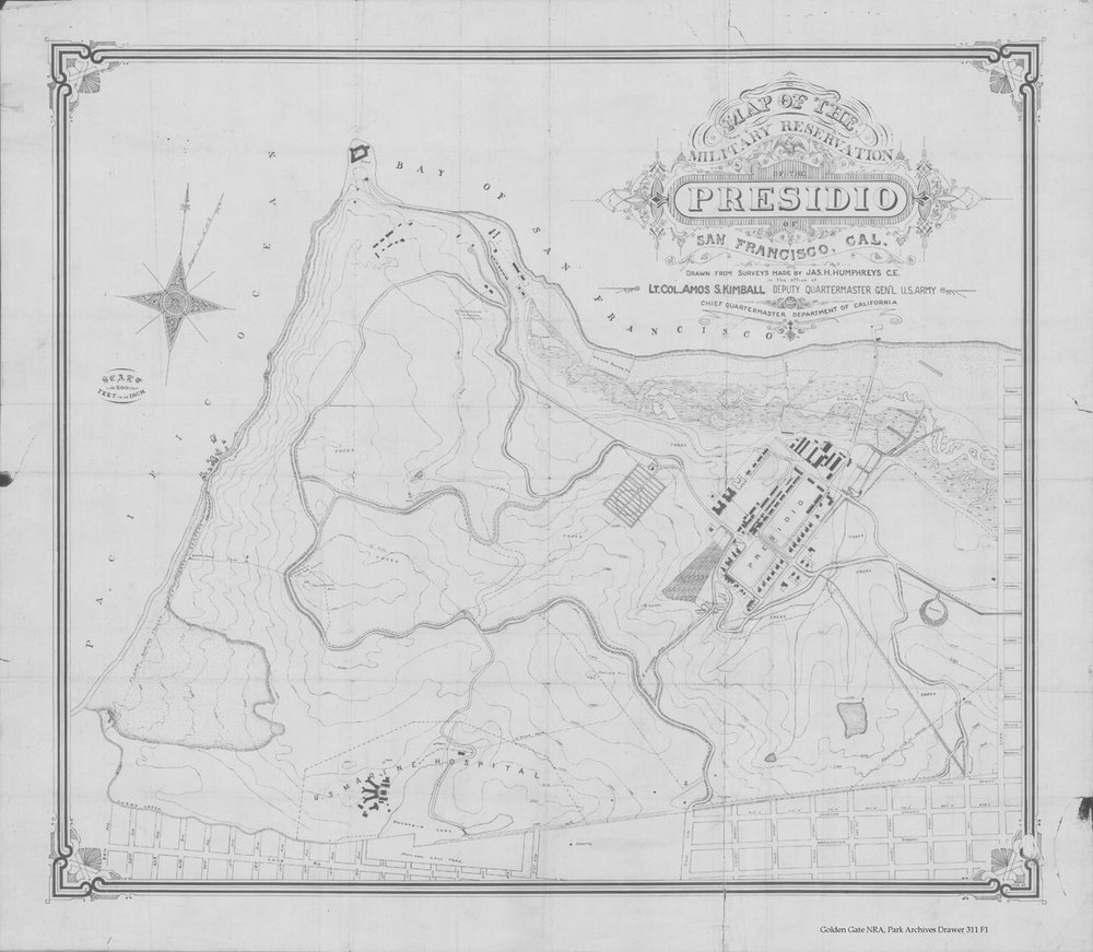 Presidio map from 1895 scanned in grayscale